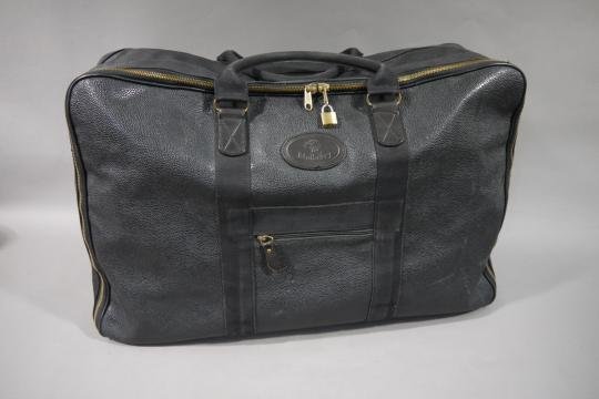 bad538998 A Mulberry large soft black scotch grain suitcase with dust bag and carrier