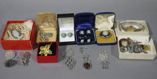 6898ad1de A collection of silver jewellery including ear studs, pendants and brooches  including Scottish and Scandinavian design variously set with Wedgwood cameo