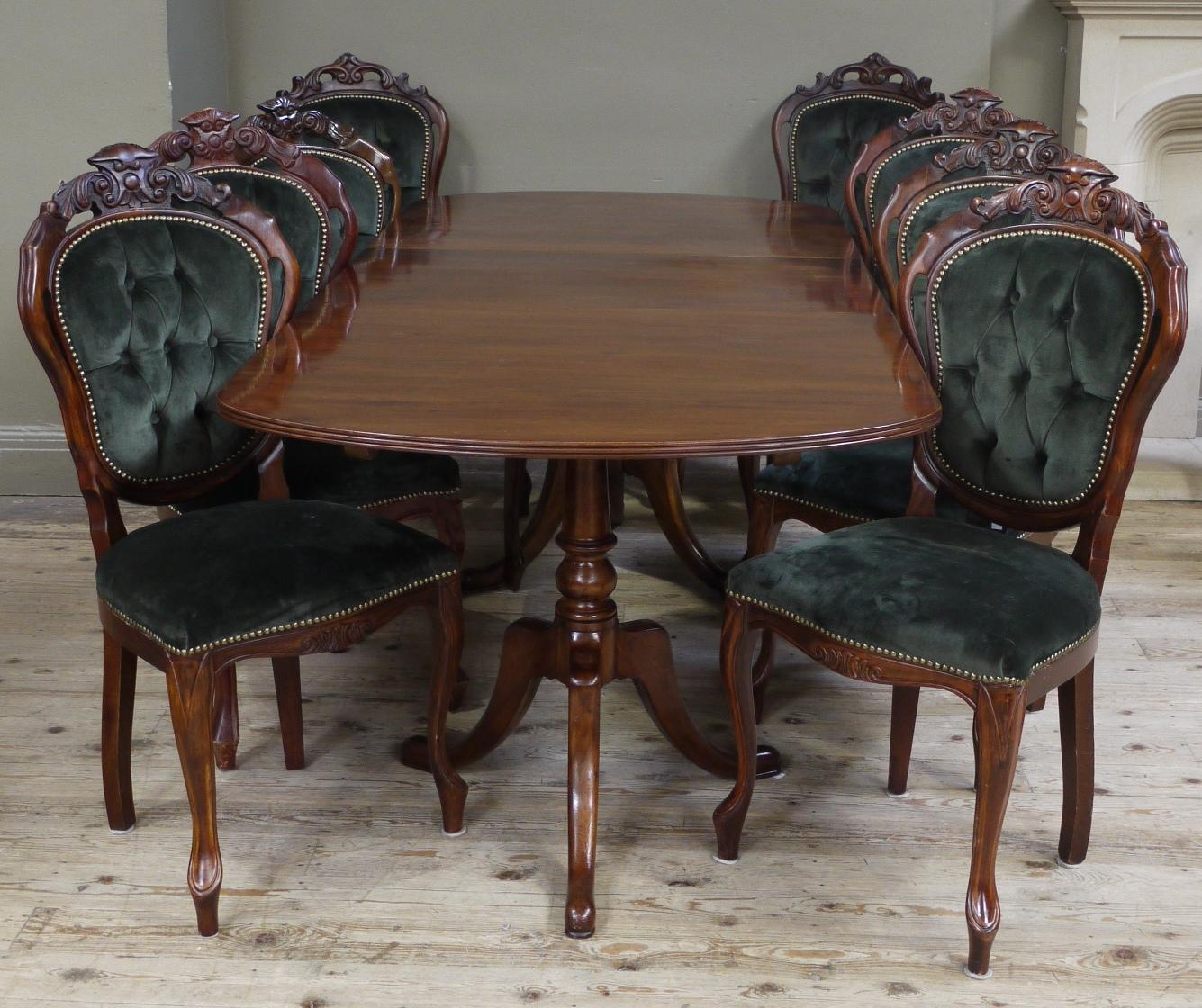 Lot 350 A Reproduction Mahogany Twin Pillar Dining Table In Regency