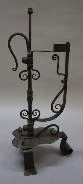 82c496b25c7cb A 19TH CENTURY FRENCH WROUGHT IRON CANDLE STAND with single adjustable  sconce